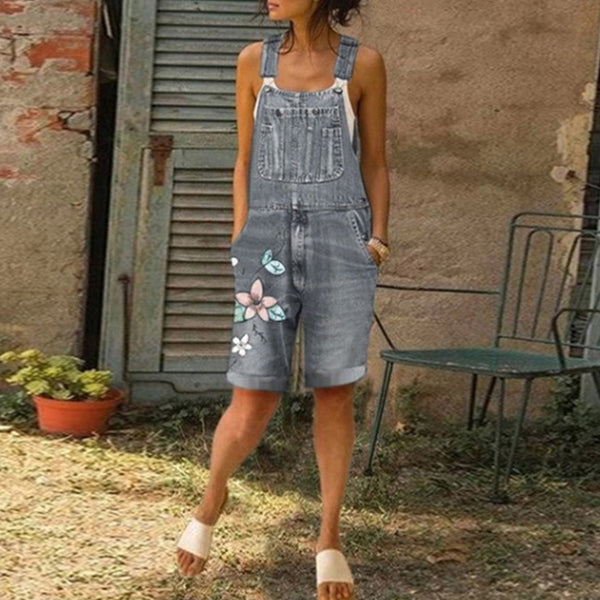 Women's Casual Loose Denim Jumpsuits Rompers Overalls Print Pocket Plus Size