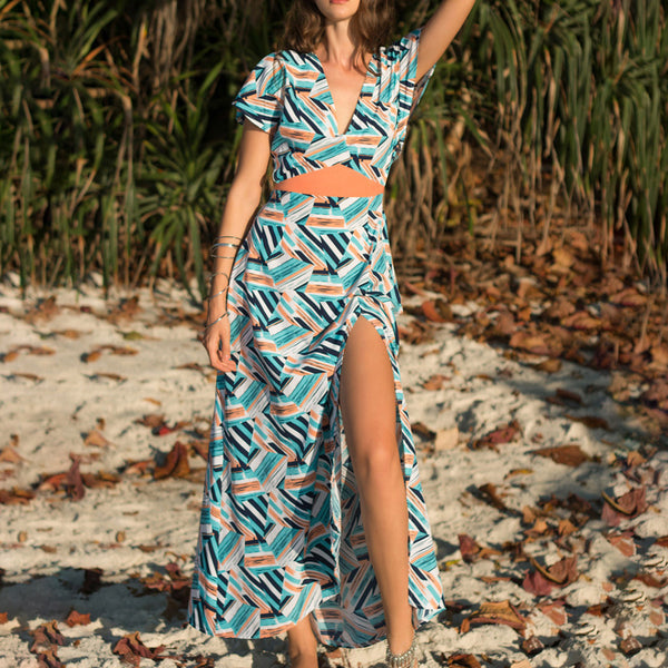 Printed Fake Two-Piece Women's Dress