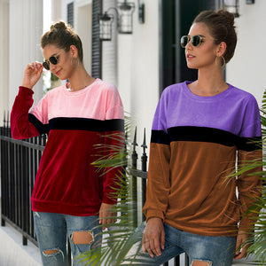 Women Tops Pullover New Round Neck Long Sleeve Three-Color Fashion Loose