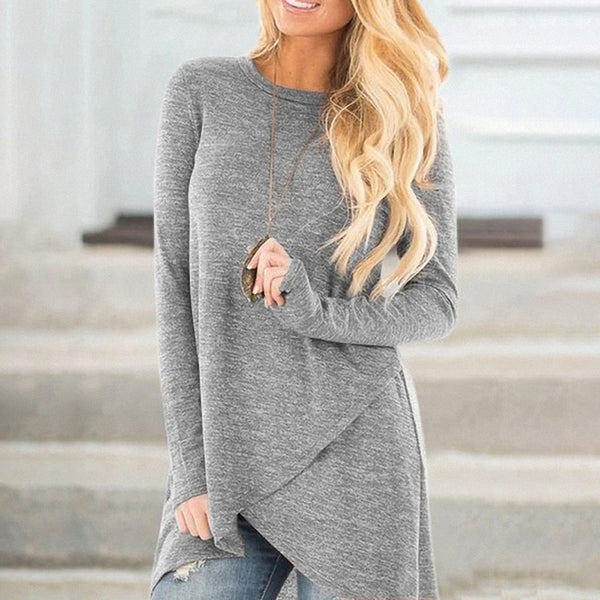 Women Casual Loose Round Neck Tops Irregular Hem Long Sleeve  Pullover Plus Size