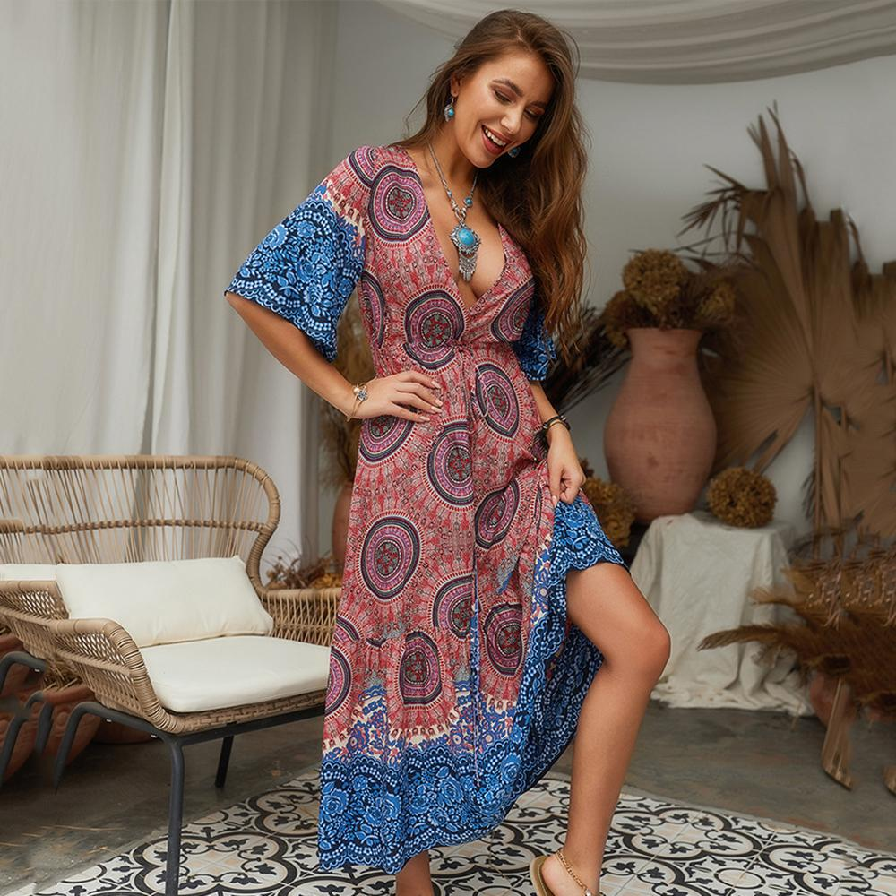 Women's Summer Boho Floral Dress - Deep V-Neck, Half Sleeve, Beach long dress