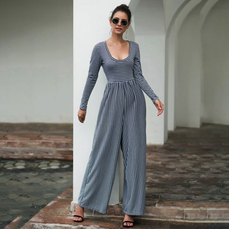 Women's Fashion Casual Jumpsuits Rompers Wide Leg Long Sleeve Striped Sexy