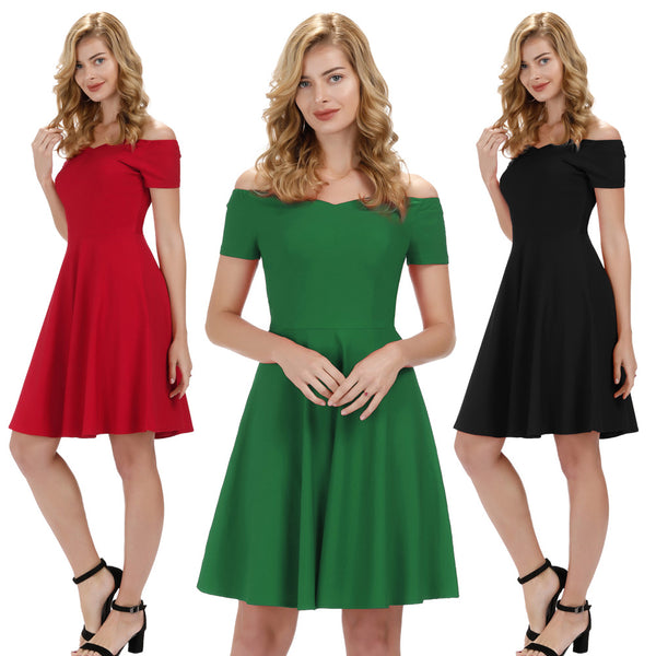 GK Retro Swing Dress - V-neck, Half Sleeve, Off Shoulder, Stretchy