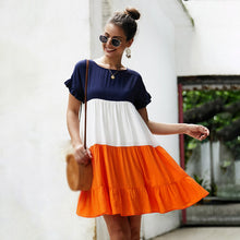 Load image into Gallery viewer, Women Above-Knee Dress A-Line Summer Stripe Pleated Three-Color Short Sleeve