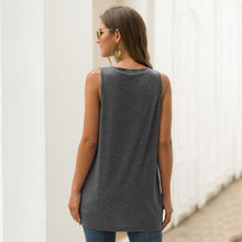Load image into Gallery viewer, Women's Casual Solid Color Round Neck Vest Sleeveless Pullover Tops T-shirt
