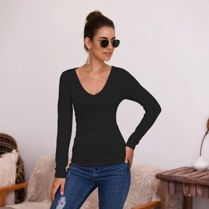Women's Fashion Tops T-Shirt Casual V-Neck Slim Fit Long Sleeve Solid Color Sexy