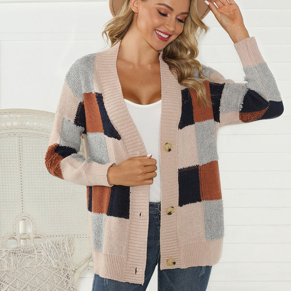 Women Multi Colors Coat Knitwear Cardigan Sweaters Loose Autumn Winter