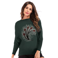 Load image into Gallery viewer, Women's Casual Slim Round Neck Tops Knitwear Pullover Long Sleeve Printed