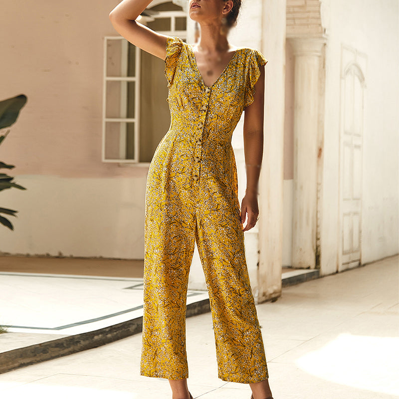Women's V-Neck Flutter Sleeve Floral Ruffle Chiffon Straight Nine-point Jumpsuit