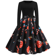 Load image into Gallery viewer, Women Christmas Casual Print Slim Dress Round Neck Large Swing Cocktail Club