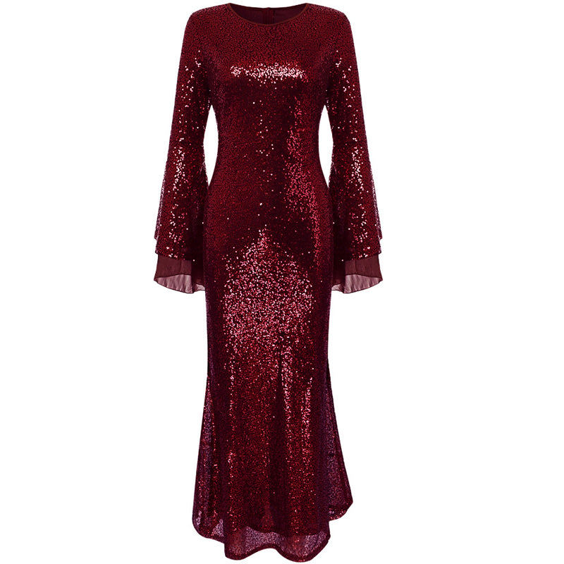 Women Chiffon Stitching Sequined Evening Dress Bell Sleeve Bodycon Plus Size