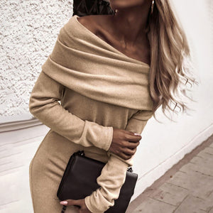 Women's Sexy Slim Off Shoulder Bodycon Dress Long Sleeve Party Evening Cocktail