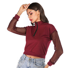 Load image into Gallery viewer, Women's Short Zipper Long Sleeve Stand Collar Slim Sweater Mesh Hollow Out Tops