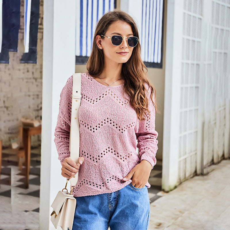 Women's Fashion Round Neck Long-sleeved Sweater Casual Tops Knitting Solid Color