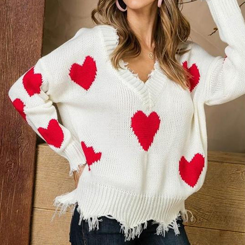 Women Sweaters Pullover Knitwear Autumu Winter New V-Neck Heart Splice Tassel