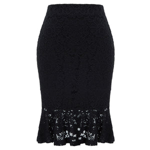 GK Women's Vintage Retro Floral Lace Hips-Wrapped Bodycon Pencil Mermaid Skirt