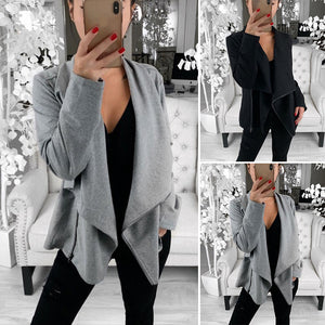 Women Casual Loose Zipper Long Sleeve Lapel Coat Cardigan Outerwear Solid Color