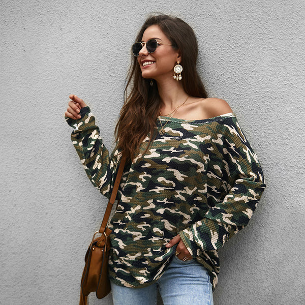 Women Tops Pullover New Long Sleeve Round Neck Camouflage Fashion Loose