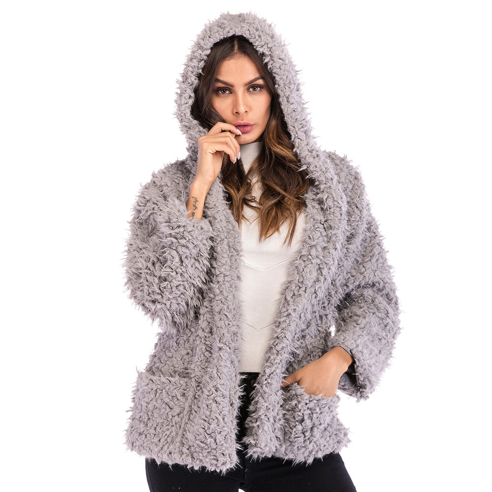 Women's Winter Warm Hooded Casual Loose Coat Long Sleeve Pocket Cardigan