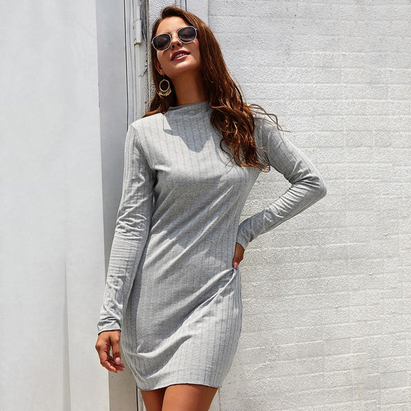 Women's Bodycon Mini Dress - Long Sleeve, Round Neck, Slim Fit