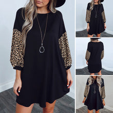 Load image into Gallery viewer, Women's Nine Points Sleeve Leopard Print Round Collar Mid Waist A-line Dress