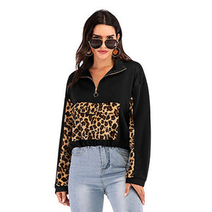 Women Casual Stitching Leopard Zipper V-neck Long Sleeve Loose Pullover Tops