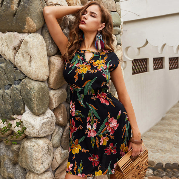 Women Above-Knee Dress Summer Vintage Floral Cap Sleeve Waist Tightening - PRESALE