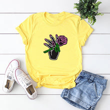 Load image into Gallery viewer, Rose Print Round Neck Short Sleeve T-shirt