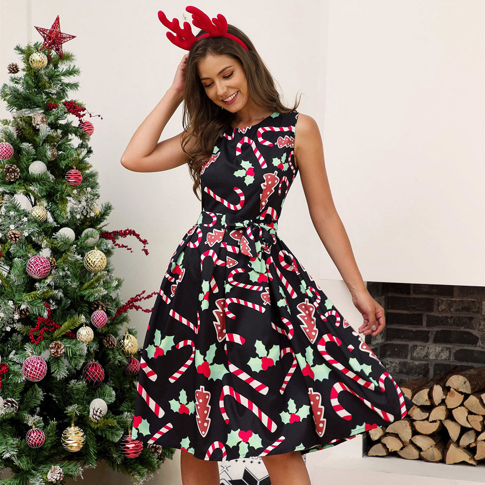 Women Christmas Printed Sleeveless Dress A-Line Knee-length Plus Size Party