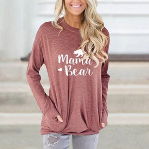 Letter Print Loose Round Neck Long Sleeve Sweatshirt