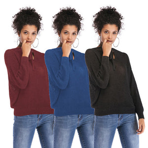 Women's Casual Loose V-Neck Tops Knitwear Pullover Long Sleeve Solid Color