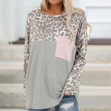 Load image into Gallery viewer, Leopard Print Patch Pocket Long Sleeved T-shirt