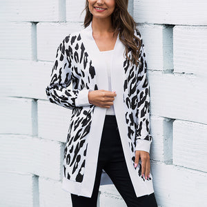 Women's Casual Slim Long Sleeve Coat Printed Knitted Cardigan Jacket Plus Size