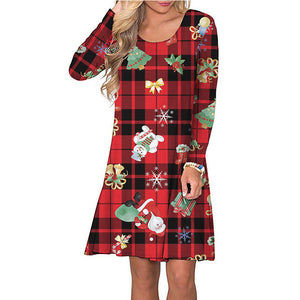 Women Christmas Plaid Print A-Line Above-Knee Dress Round Neck Long Sleeve Cute