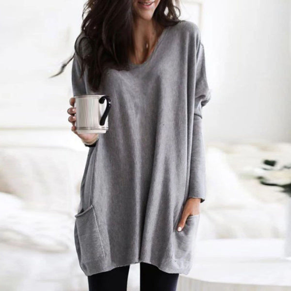 Women Sweatshirts Pullover Autumn Winter V-Neck Long Sleeve Pocket Casual Loose