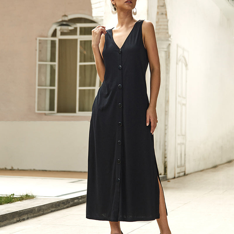 Women's Summer V-Neck Sleeveless Casual Solid Color Single-breasted Long Dress
