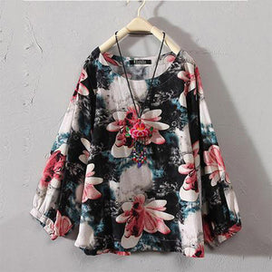 Women Summer Retro Boho Floral Long Sleeve Round Neck Casual Loose Tops Shirts