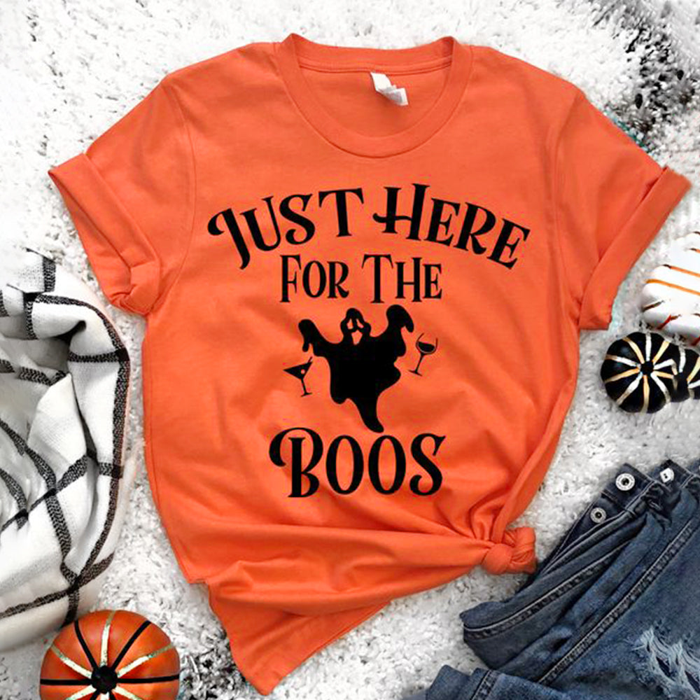Happy Halloween  Just Here For The Boos  Round Neck Short Sleeve T-shirt