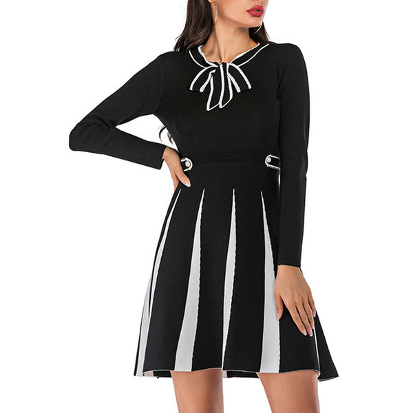 Women's Winter Casual Slim Long Sleeve Dress Cotton Sweet Bowknot A-Line - PRESALE