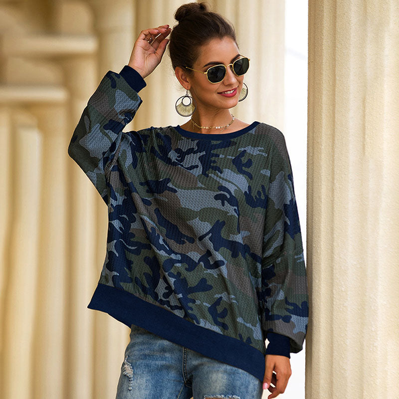 Women's Loose Camouflage Round Neck Blouse