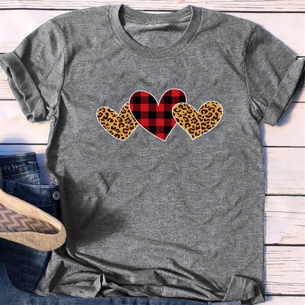 Checked Leopard Three Heart Print Short Sleeve T-Shirt - PRESALE