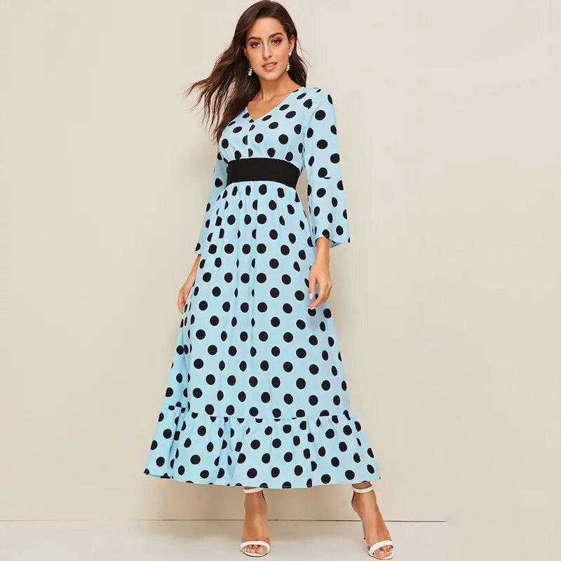 V-neck Fashion Long-sleeved Polka Dot Long Dress High Waist Large Swing - PRESALE