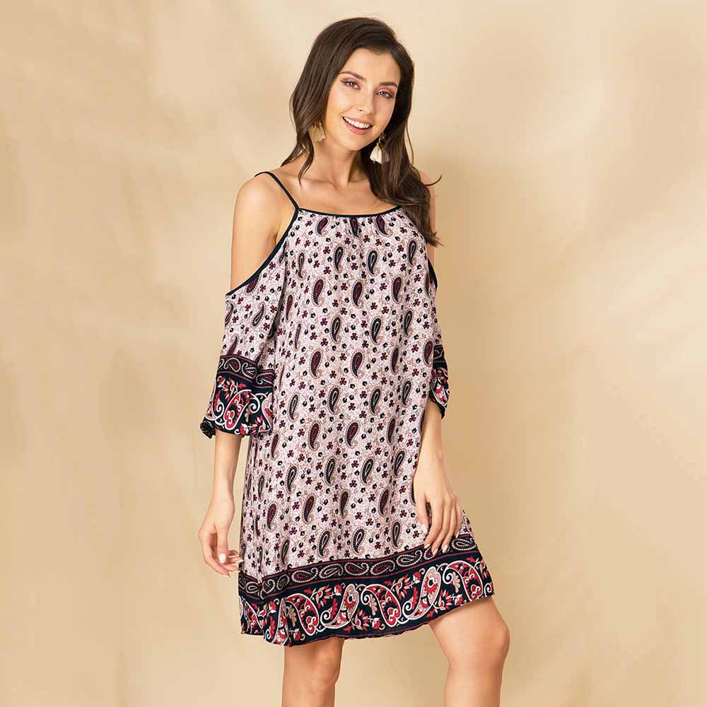 Women Summer Sling 3/4 Sleeve Floral Loose Beach Holiday Fashion Mini Dress