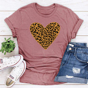 Short Sleeve Round Neck Leopard Love T-Shirt