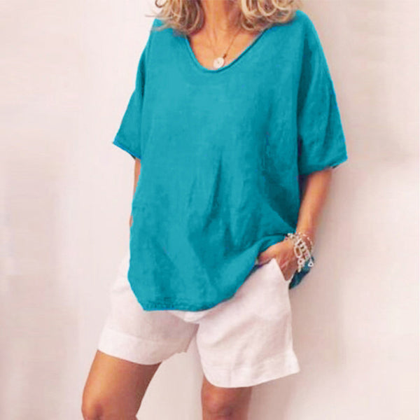 Summer Women's Casual Loose Round Neck Short Sleeve Solid Color Tops T-Shirt