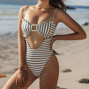 Bubble Fabric Toothed Stripe Printed One-piece Swimsuit
