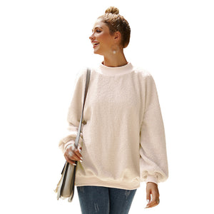Women's Warm Loose Round Neck Pullover Long Sleeve Fluffy Teddy Bear Tops