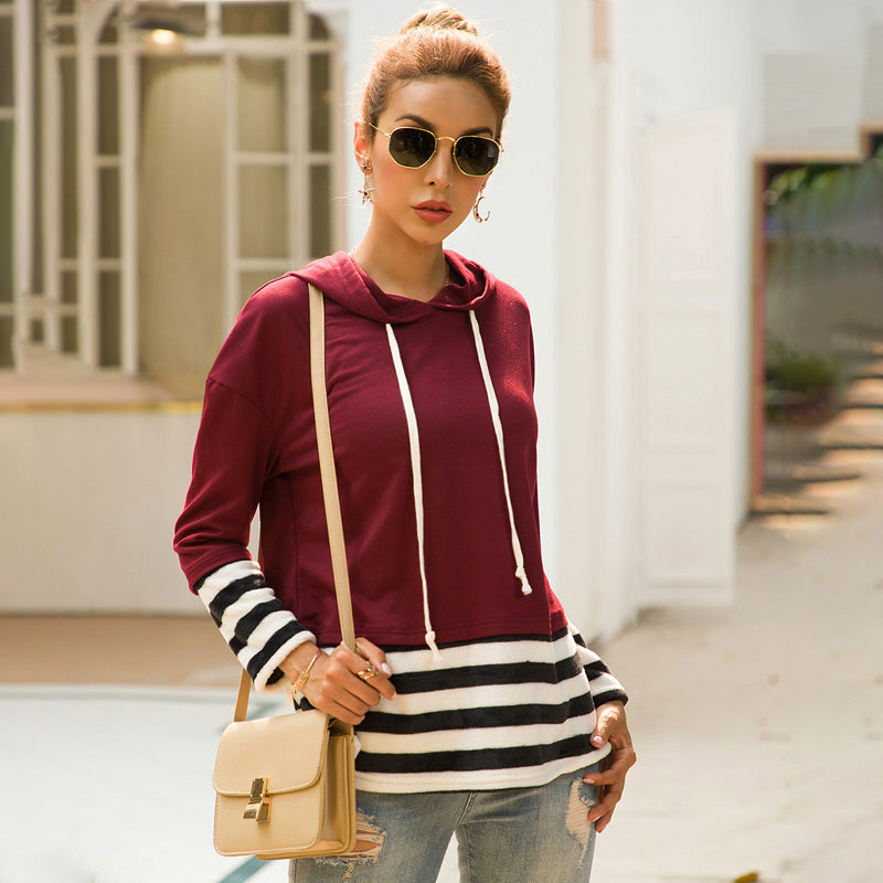 Women Stripe Splice Drawstring Hooded Sweatshirt Pullover Long Sleeve New - PRESALE