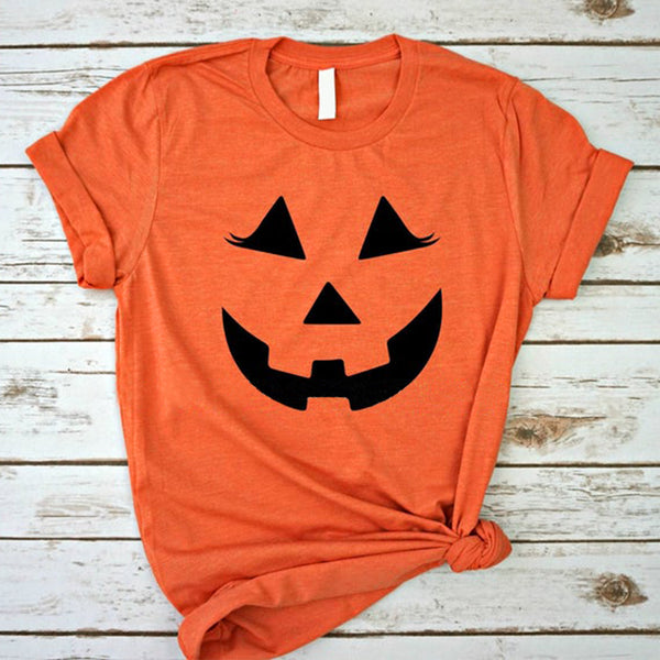Happy Halloween Pumpkin Visage souriant Impression col rond T-shirts