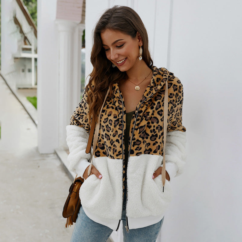 Women Coat Hooded Sweatshirt Autumn Winter Leopard Splice Plush Zipper Fashion